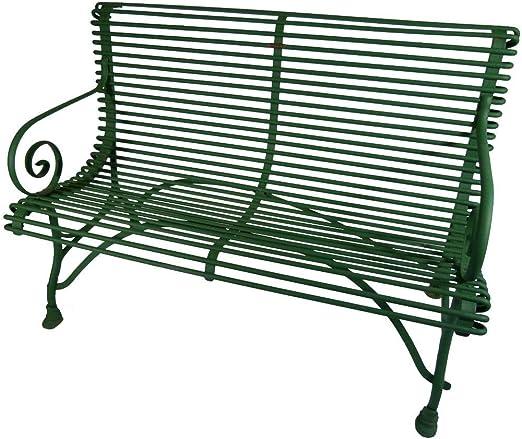 Banco de Jardín de Hierro Forjado, Color Verde. Modelo Arras. para Dos Personas.: Amazon.es: Jardín