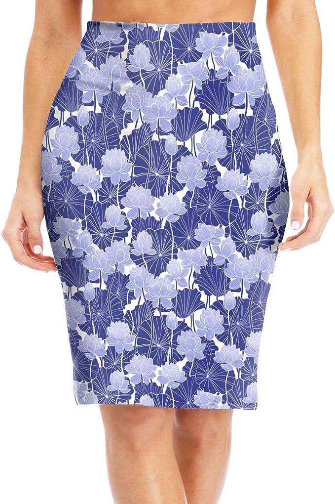 Falda de lápiz, diseño de flor de loto china, para mujer: Amazon ...