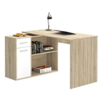 CARO Möbel Eckschreibtisch Lena Schreibtisch Für Kinder Computertisch In  Sonoma Eiche/weiß, Mit
