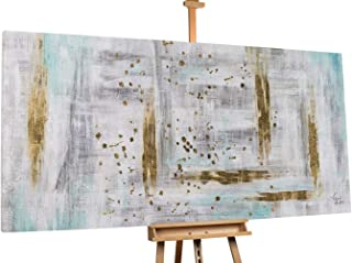 KunstLoft Stravagante Dipinto ad Olio Drops of Gold' in 200x100cm | Tele Originali manufatte XXL Design | Astratto Strisce Oro Grigio | Quadro da Parete in Olio Arte Moderna murale