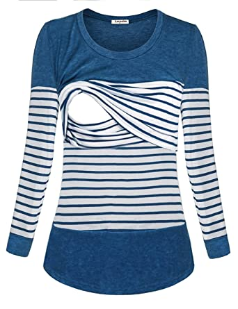 2be35dd69af Larenba Women Long Sleeve Breastfeeding Shirt Striped Patchwork Nursing Tops  at Amazon Women's Clothing store: