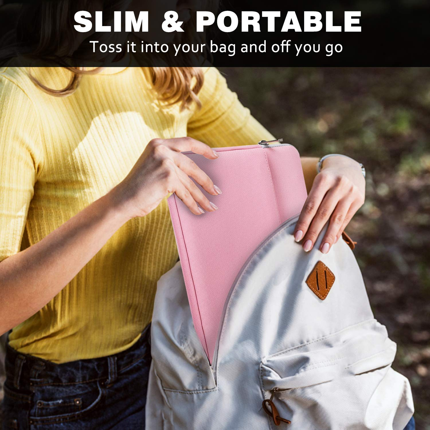 MoKo 9-11 Inch Sleeve Case Bag Samsung Galaxy Tab A 10.1 // Surface Go 10 2018 Polyester Tablet Cover with Pocket Fits iPad Air 3 10.5 2019 iPad 9.7 2018//2017 iPad Pro 11 2018 Pink