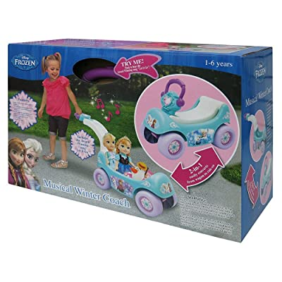 Disney Frozen - Musical Winter Coach - 2 in 1 Wagon and Ride-On - Anna and Elsa: Toys & Games