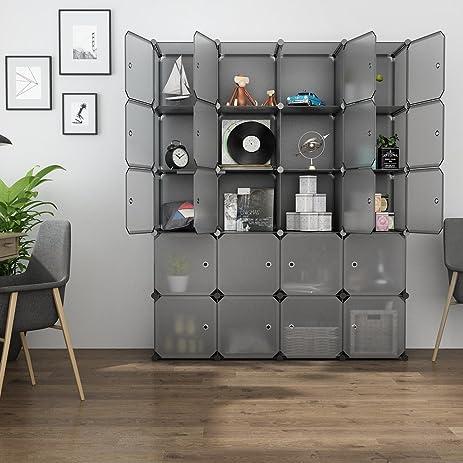 langria 20 cube organizer stackable plastic cube storage shelves design modular closet cabinet with hanging
