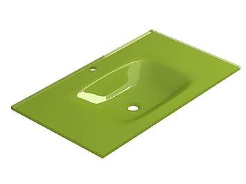 Lavabo Verde Pistacho.Coycama 50212080 Lavabo De Bano Cristal Templado 80 Cm
