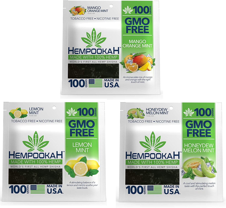 Hempookah Pack of Three Flavors, each/100g, 100% Natural Hemp, Hookah, Shisha, Nicotine Free, Tobacco Free (Mango Orange Mint & Honeydew Melon Mint & Lemon Mint) Pack of Three