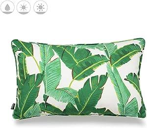 "Hofdeco Tropical Indoor Outdoor Indoor Outdoor Pillow Cover ONLY, Water Resistant for Patio Lounge Sofa, Green Banana Leaf, 12""x20"""