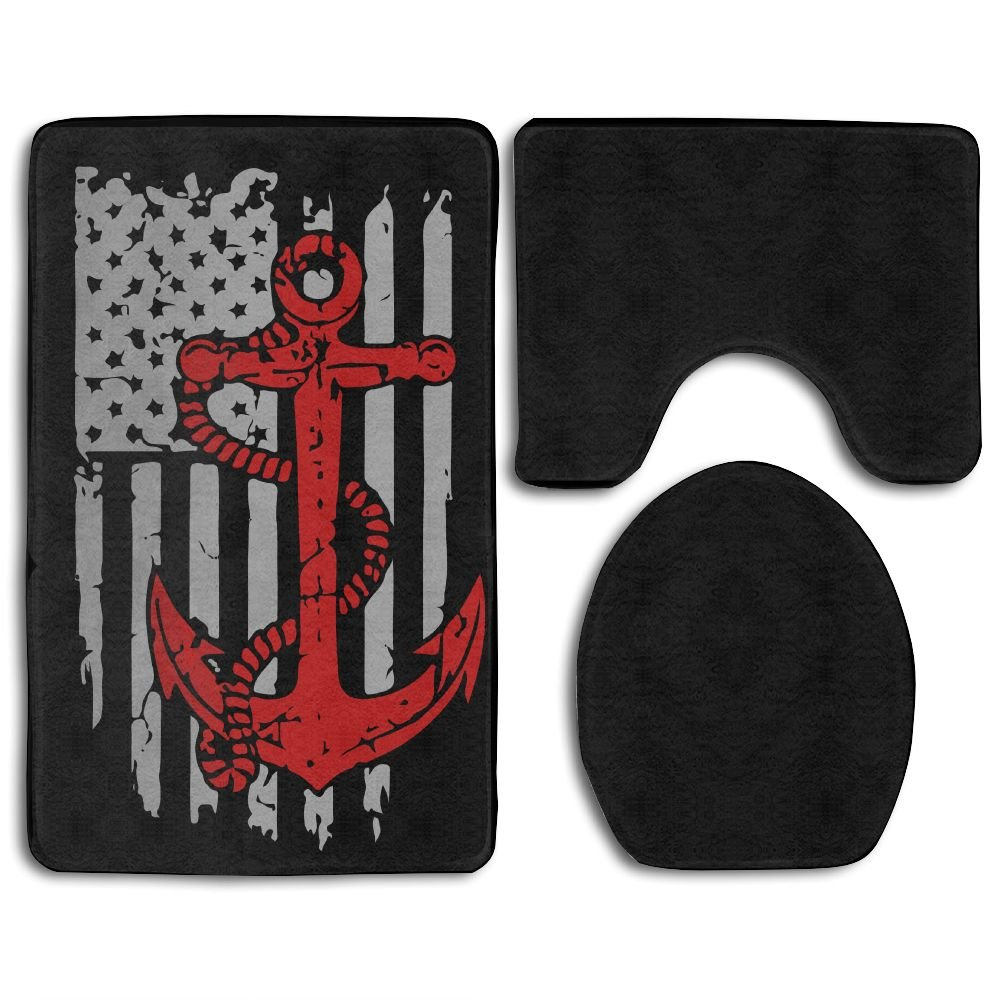 3-Piece Sailors Usa Flag Non-Slip Bath Mat Rug Set Contour And Toilet Cover