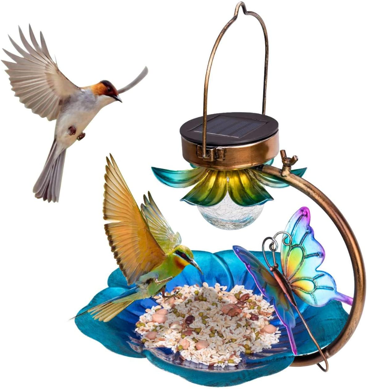Birdream Solar Bird Feeder for Outside Hanging Wild Birdfeeders Seed Tray Outdoor Solar Powered Garden Light Metal Butterfly Decorative LED Landscape Lighting Waterproof 9.5 Inch Dia for Yard