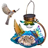 Birdream Solar Bird Feeder for Outside Hanging Wild Birdfeeders Seed Tray Outdoor Solar Powered Garden Light Metal…