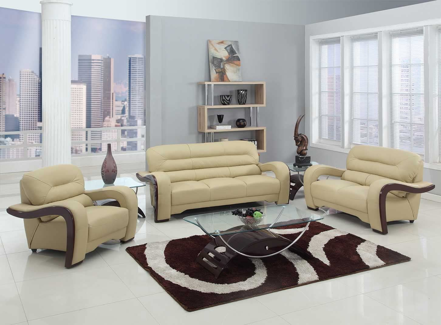 Blackjack Furniture 9412 Nathan Collection Leather Match/Gel Upholstered Contemporary Living Room