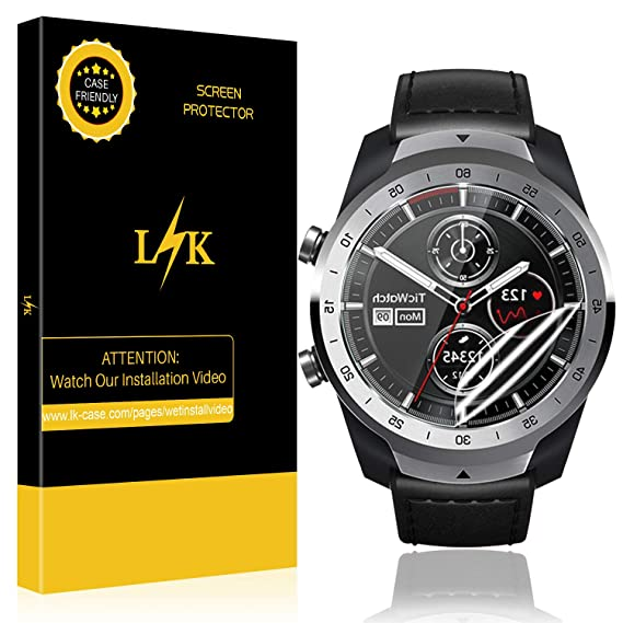 LK [6 Pack] Screen Protector for TicWatch Pro, Smartwatch Coverage [Anti-Bubble] HD Clear with Lifetime Replacement Warranty
