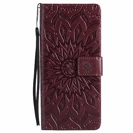 Dfly Funda Galaxy Note 8, Premium PU Cuero Relieve Flores Datura Diseñado Cierre Magnético Super