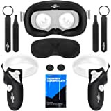 Touch Controller Grip Cover VR Face Silicone Cover Mask & Face Pad Set for Oculus Quest, Premium Silicone Protective…