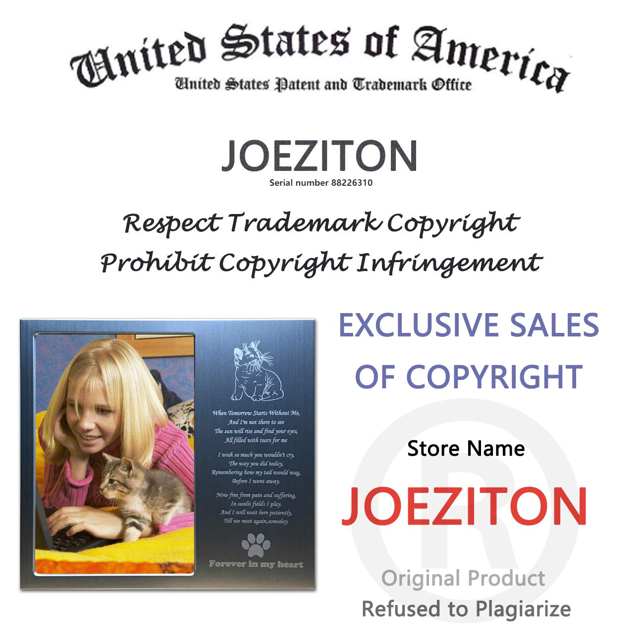 JOEZITON Pet Memorial Personalized 4x6 Picture Frame for Loss of Dogs or Cats.