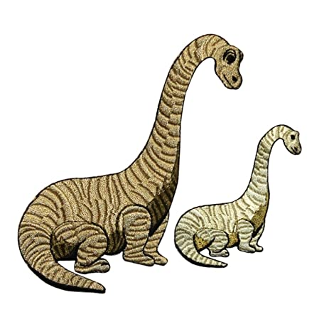 Id 0778ab Set Of 2 Long Neck Dinosaur Patches Dino Embroidered Iron On Lique
