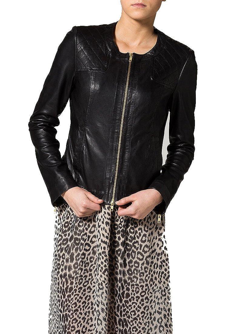 New Women Motorcycle Black Lambskin Leather Jacket Coat Size XS S M L XL LFWN023 M Black