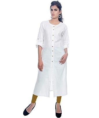2d2be82bb4d Women s plain white long cotton kurti  Amazon.in  Clothing   Accessories