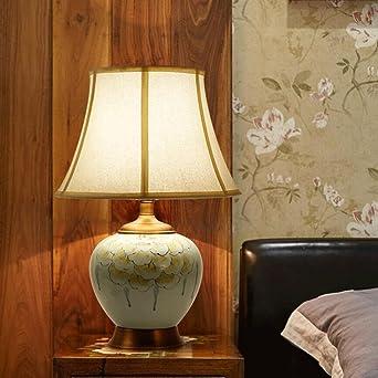 YYF Tischleuchte Moderne Weiße Wohnzimmer Studie Keramik Tischlampe Neue  Chinesische Schlafzimmer Nachttischlampe Warme Kupfer Lampe Modell