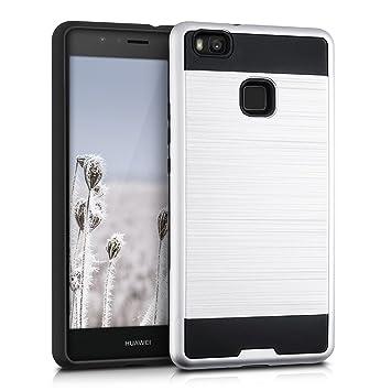 kwmobile Funda para Huawei P9 Lite - Carcasa [híbrida] de [TPU] con diseño Dual en [Plata/Negro]