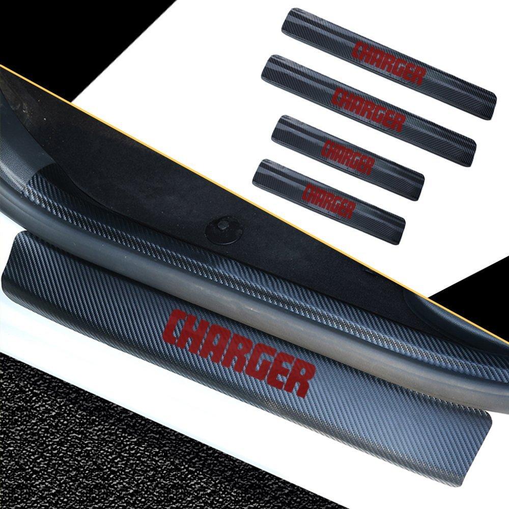 4PCS Accessories 3D Carbon Fiber Black Car door Plate Door Sill Scuff Plate Cars Sticker Anti-kick Scratch For Dodge Charger Auto Car-styling (blue) 8X-SPEED