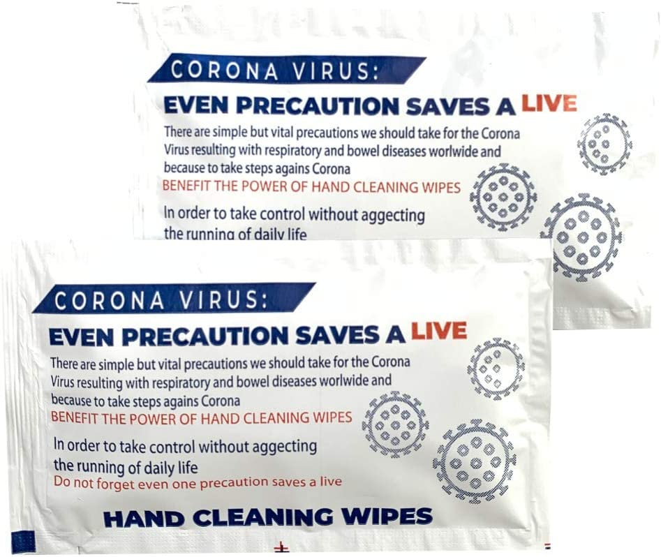 Individually Wrapped Disposable Moist Wipes for Home Office Kitchen School Travel Refreshing Cleansing Pocket-Sized 25x Wet Wipes Anti-Viral Hand Wipes Easy to Carry Pack of 25 18x14cm