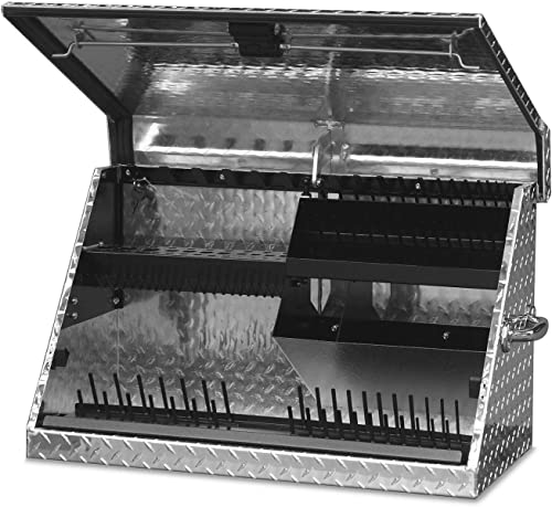 Montezuma ME300AL 30-Inch Portable TRIANGLE Toolbox Multi-Tier Design Heavy-Duty Tread Brite Aluminum Construction SAE and Metric Storage Chest Weather-Resistant Lock and Latching System