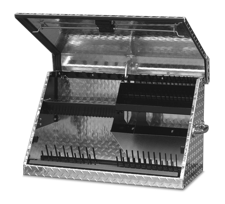 Montezuma Portable Tool Box - 30'' x 15'' Truck Bed Storage Chest with Diamond Plate Aluminum Construction & Locking Lid - ME300AL