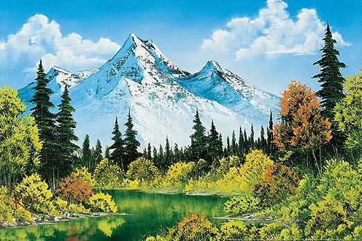Amazon.com: Bob Ross Meadow Lake Canvas Art Print Painting Cool