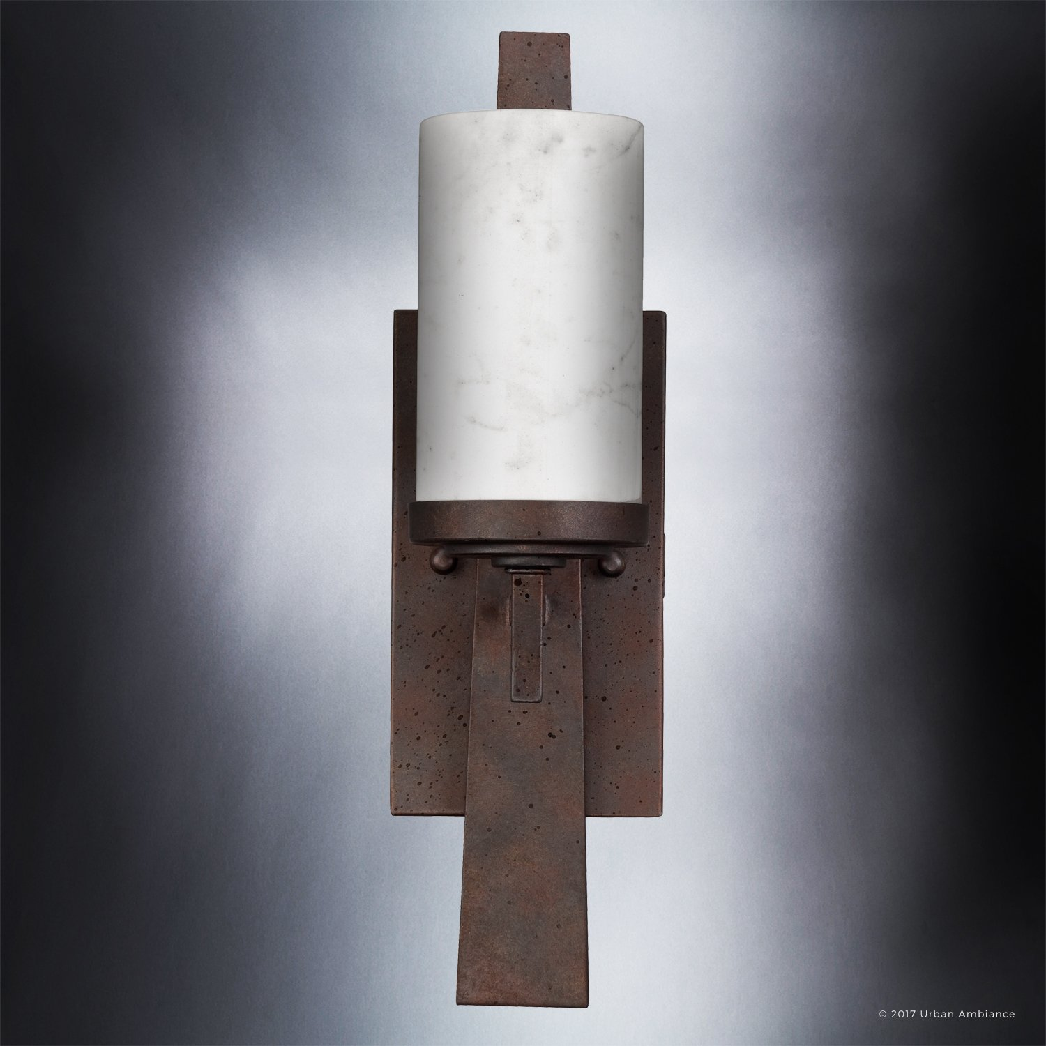 Luxury Rustic Indoor Wall Light, Medium Size: 16''H x 4.5''W, with Craftsman Style Elements, Banded Wrought Iron Design, Forged Iron Finish and White Onyx Stone Shades, UQL2420 by Urban Ambiance by Urban Ambiance (Image #4)