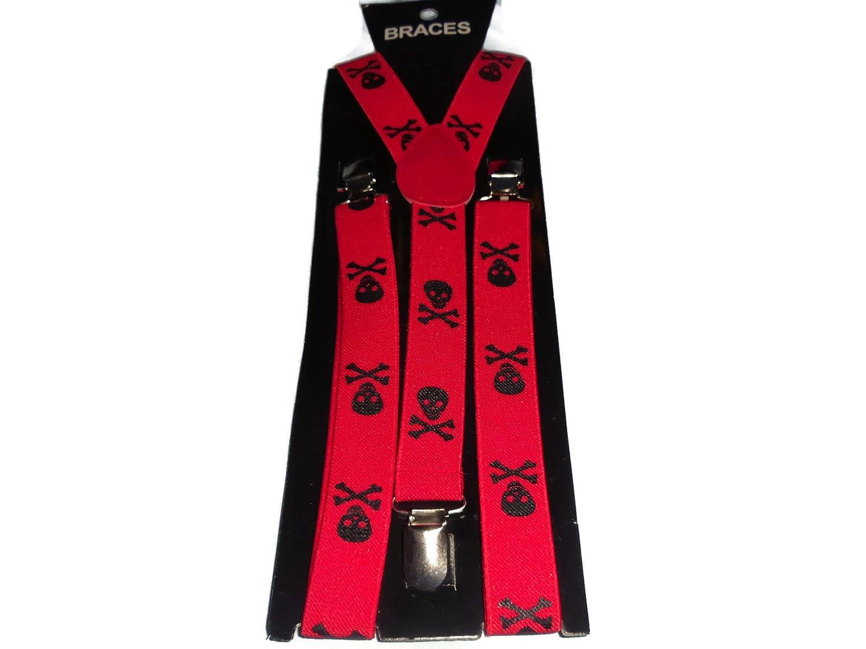 Unisex Red & Black Skull & Bones Design Adjustable Braces 017