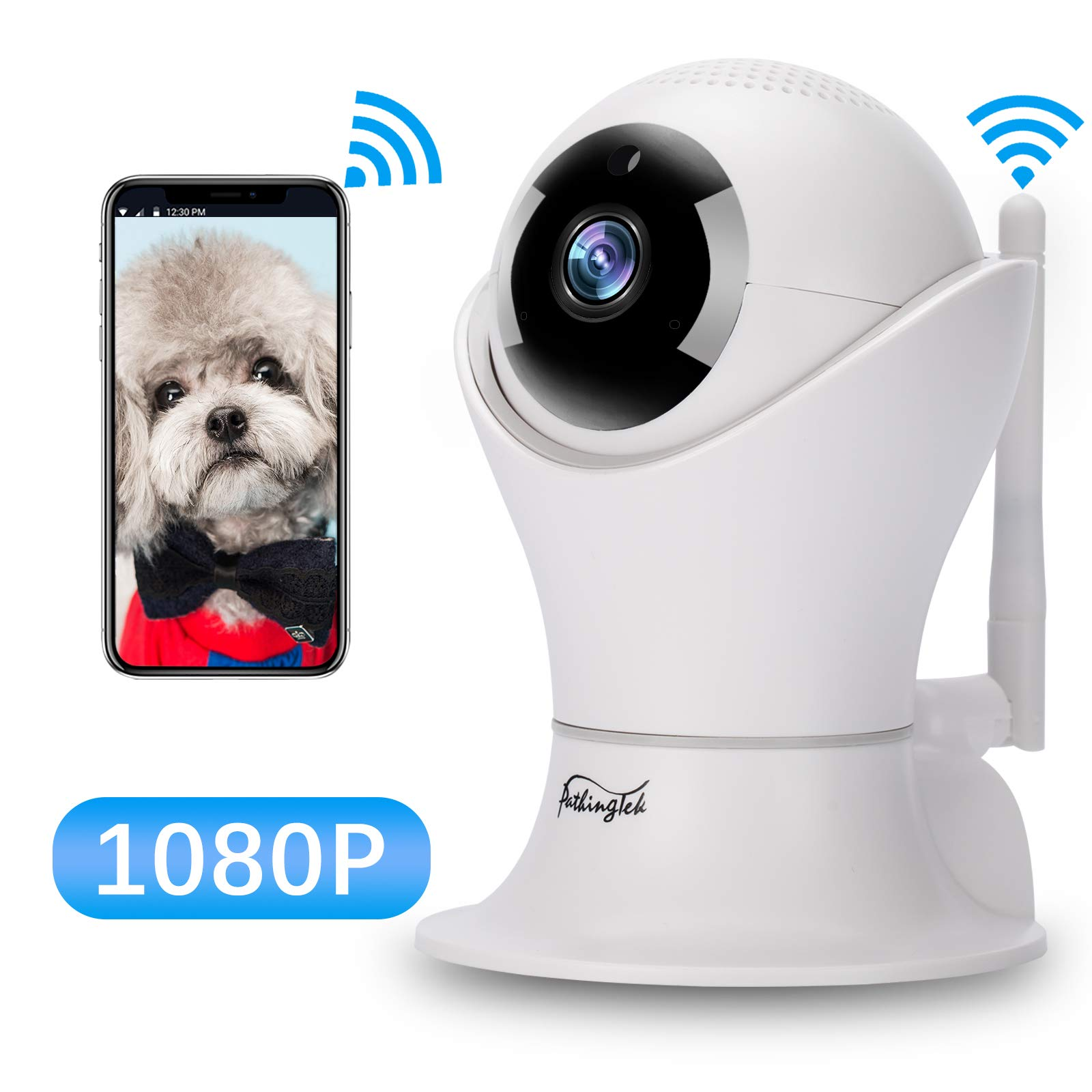 WiFi IP Camera 1080P HD Wireless Camera Baby Pet Monitor Surveillance Home Security Camera Nanny IP Cam Pan/Tilt with Motion Detection Two-Way Audio Night Vision Wireless IP Camera