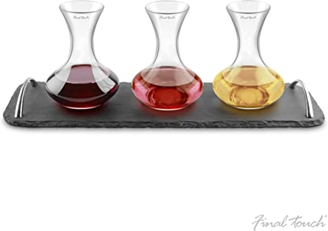 Final Touch WD304 Wine Flights Decanter with Slate Tray Set of 3