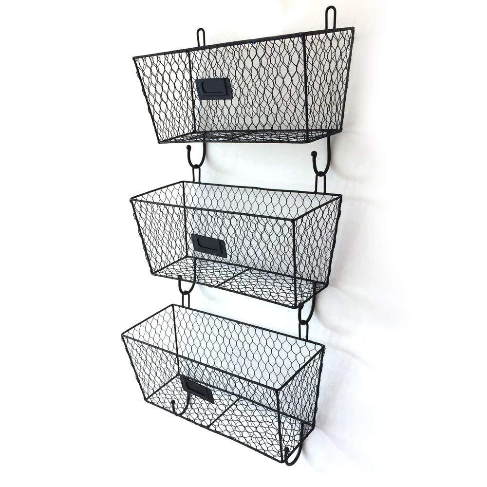 KTKAP Metal Wire Storage Basket w Hanging Hook Vintage Mail Sorter Magazine File Organizer 3PCS