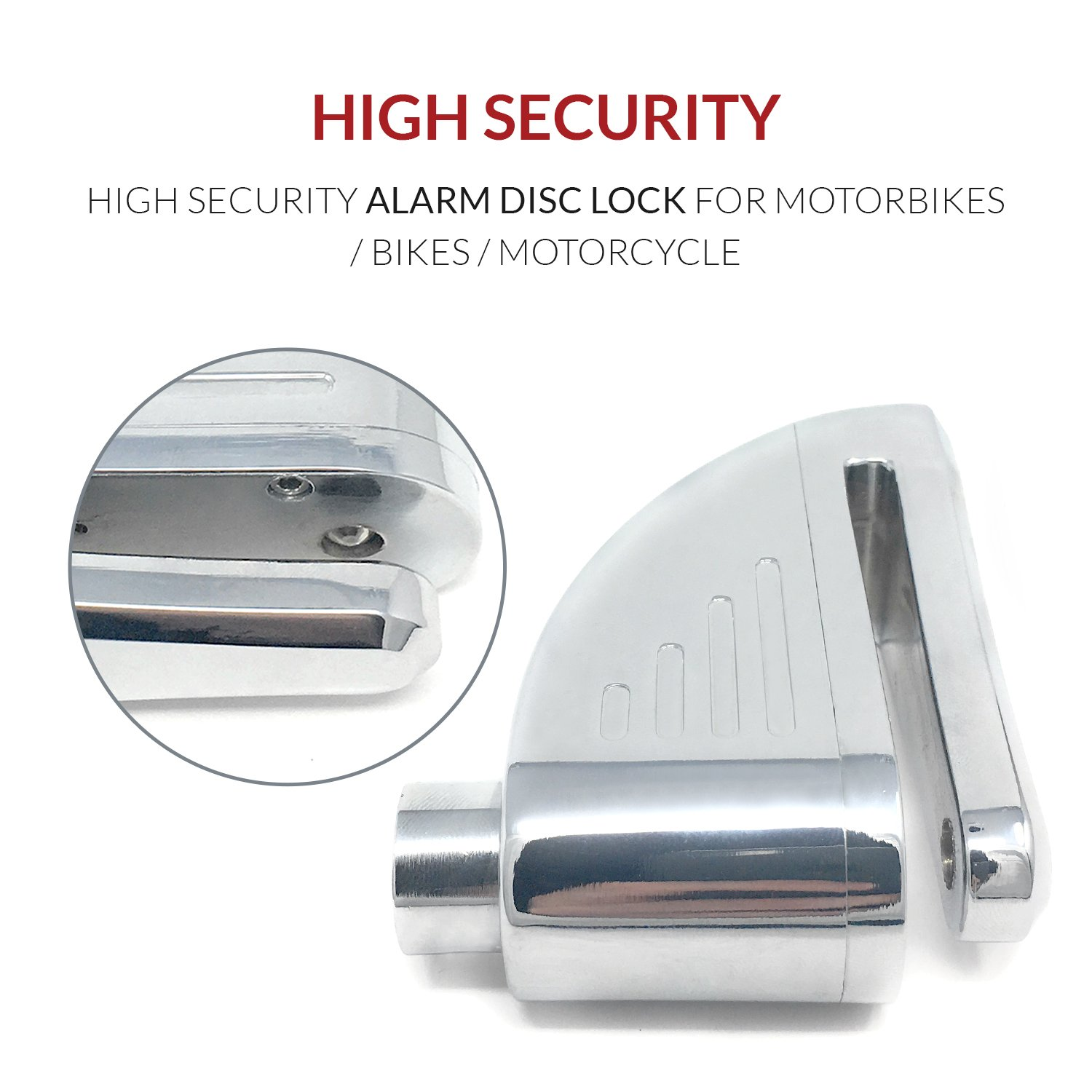 Motorbike Disc Lock Alarm With Built In 110 db Alarm System Siren Our Disc Brake Lock Alarm comes with Anti-Theft Security and works with Motorcycles and Mopeds Waterproof and Compact.