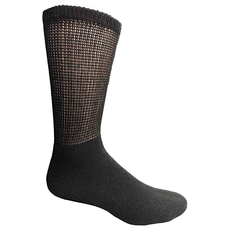 Physicians Approved Mens Diabetics Cotton Crew Socks - Mens Wholesale Diabetic Crew Socks - 10-13 - Black - 240 Pack