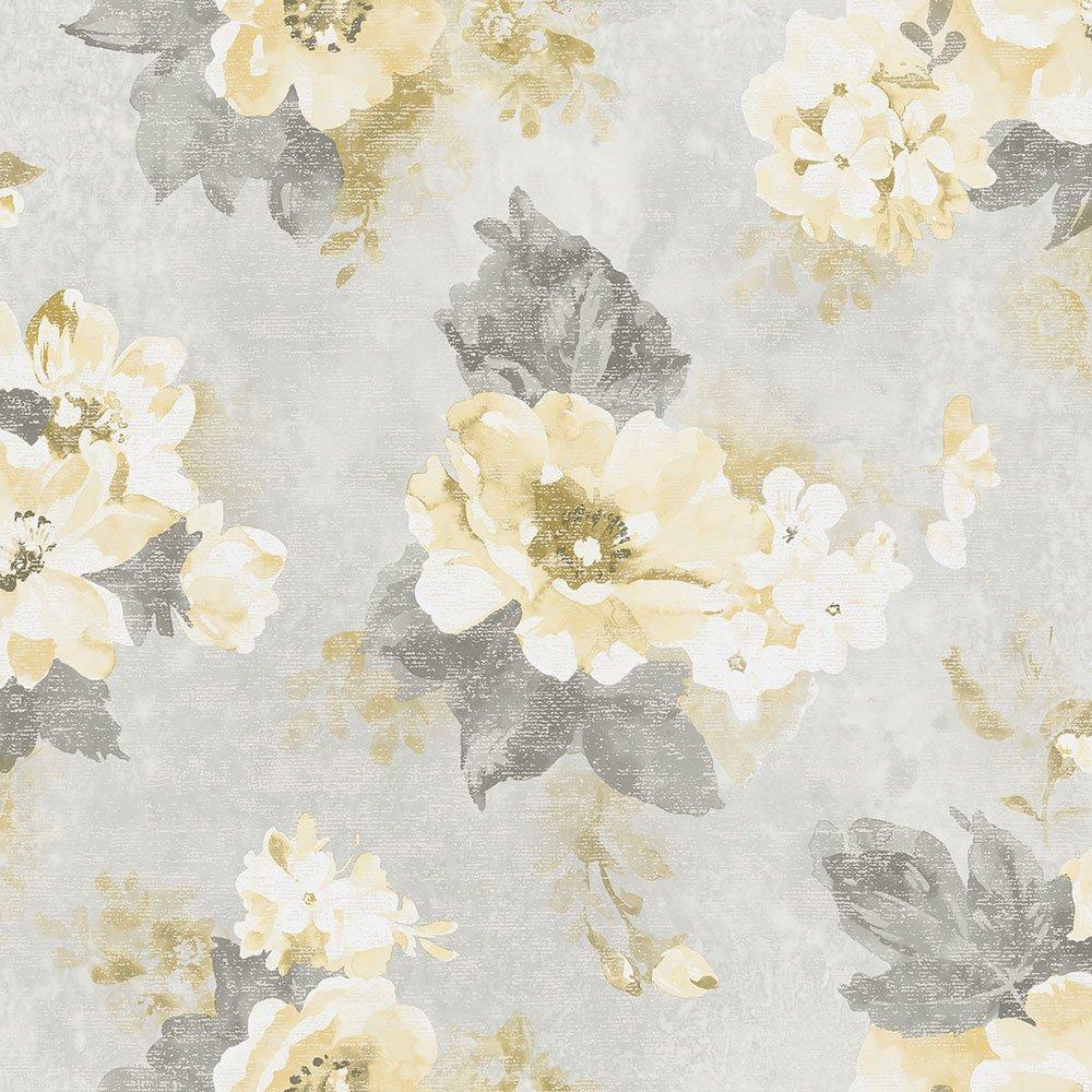 G34104 Vintage Damasks Floral Grey Yellow Galerie Wallpaper