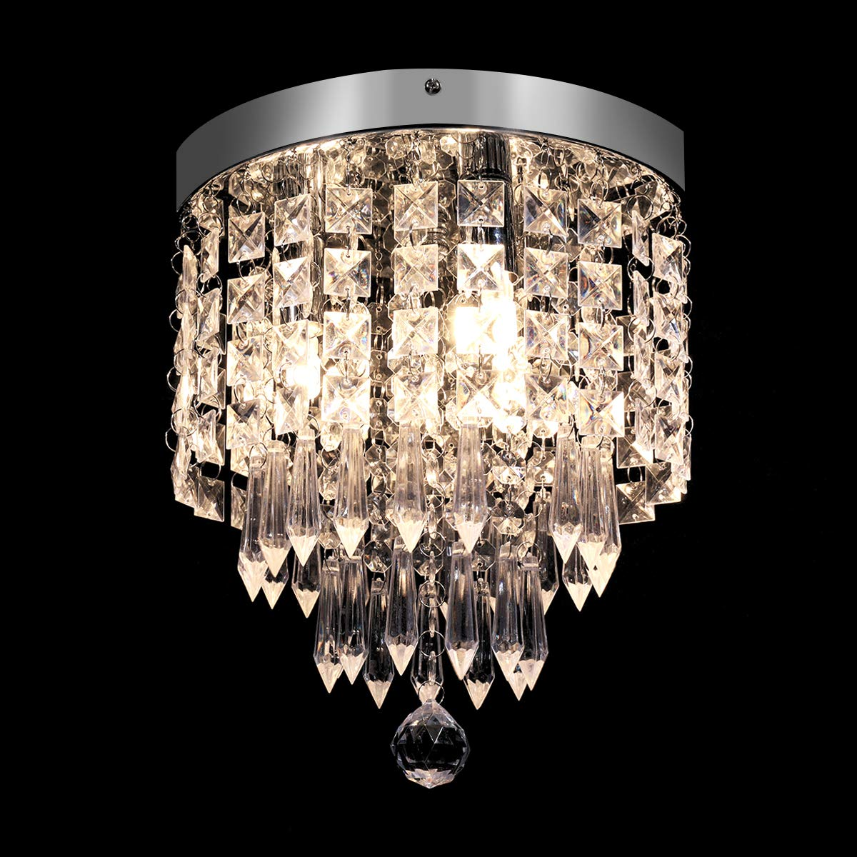 KingSo Modern Chandelier Crystal Ceiling Light 3 Lights Elegant Flush Mount Light Fixtures H10.63 X W8.66 for Bedroom,Living Room, Hallway,Kitchen, Bathroom, Bar, Dining Room, G9 Base