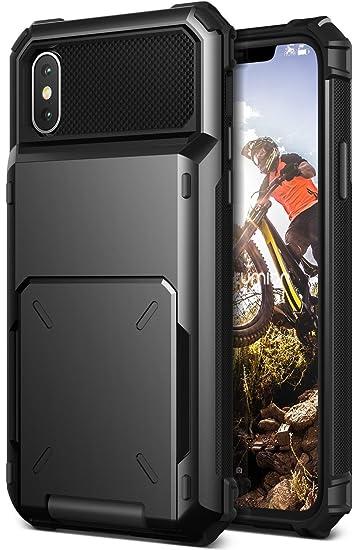 promo code bc747 18efe VRS Design [Damda Folder] TPU + Hard PC Hybrid Wallet Case Spring loaded  [Shock Absorbent Cover] for Apple iPhone X / iPhone Xs [Black]