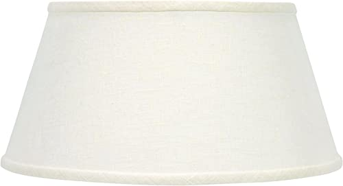 Upgradelights White Linen Shallow Oval 14 Inch Vintage Bouillotte Style Lampshade