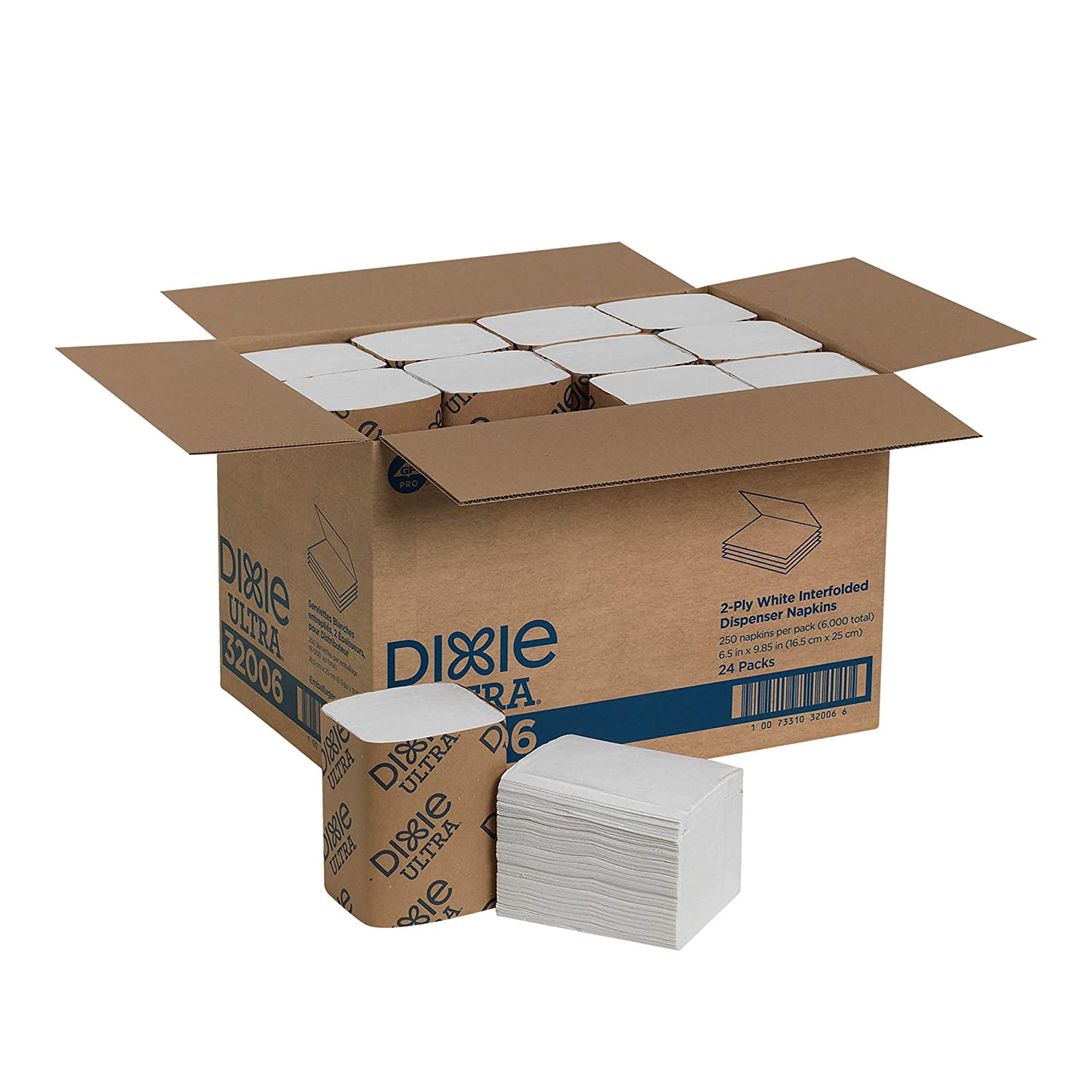 Dixie Ultra Interfold Napkins White 2-Ply by GP PRO (Georgia-Pacific), 32006, 250 Napkins Per Pack, 24 Packs Per Case