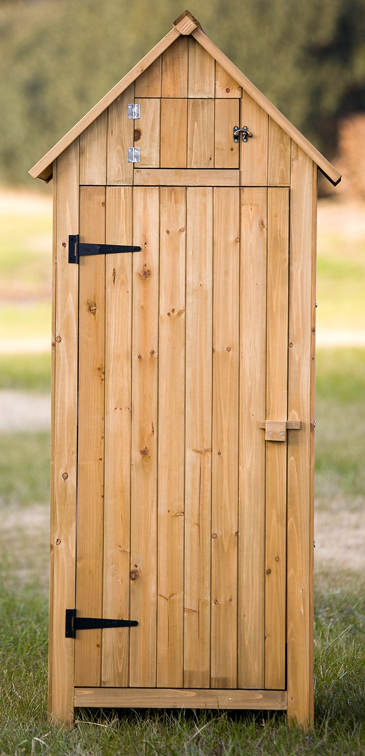 amazoncom merax arrow shed with single door wooden garden shed wooden lockers with fir wood natural wood color garden outdoor - Garden Sheds Wooden