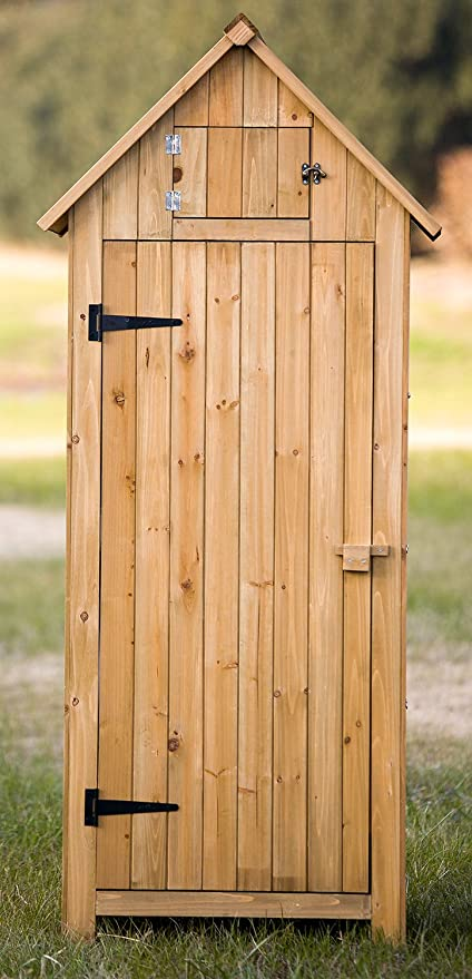 Merax Arrow Shed With Single Door Wooden Garden Shed Wooden Lockers With  Fir Wood (Natural
