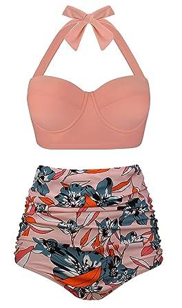 d7dcf3035469 Angerella Damen Retro Stil Polka-Punkt mit Hoher Taille Badeanzug Bikini Set   Amazon.de  Bekleidung