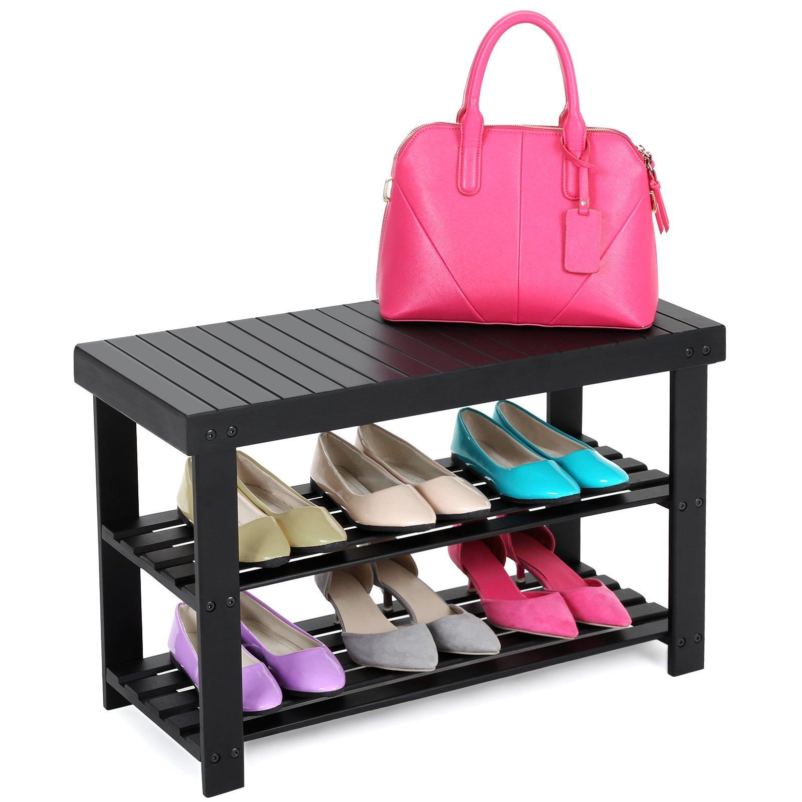 SONGMICS 3-Tier Shoe Bench Organizing Rack Entryway Storage Shelf 100% Bamboo