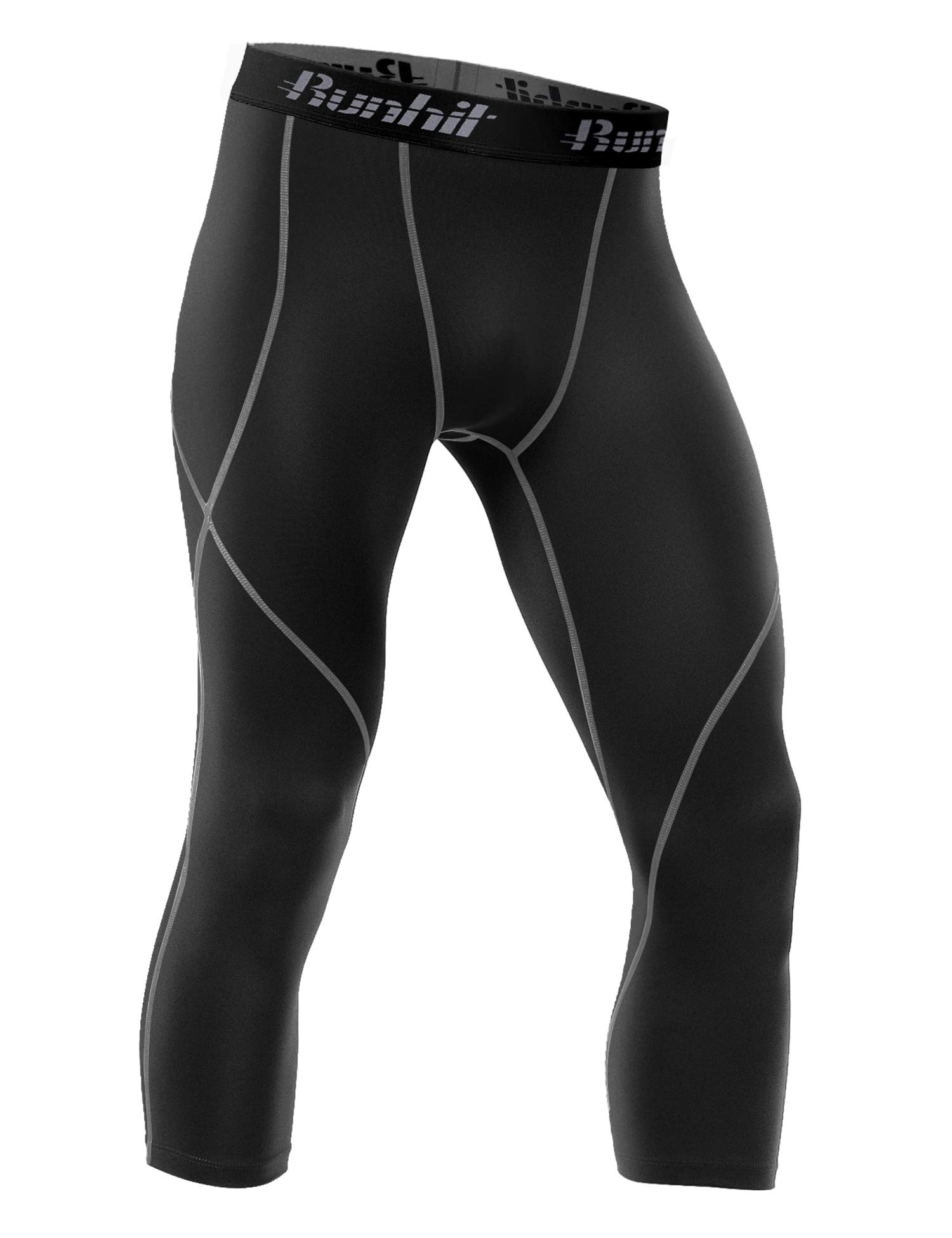 Runhit Mens 3/4 Compression Leggings Pants Capri Shorts Baselayer Cool Dry Sport Tights Black by Runhit