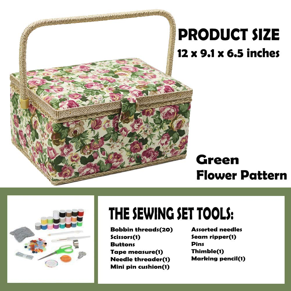 D/&D Large Sewing Basket with Sewing Kit Accessories 12.2 by 9.17 by 6.38 inches