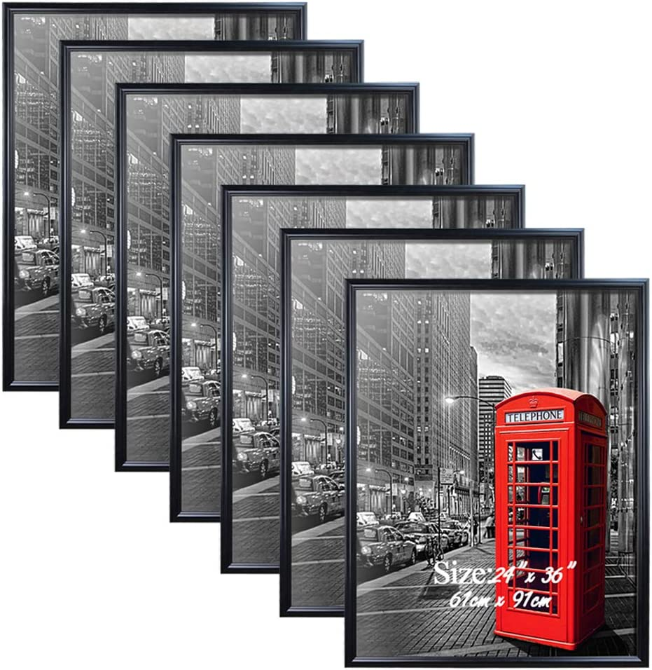 PETAFLOP 24 x 36 Frame Black 24x36 Picture Frames for Wall, 7 Pack Large Movie Poster Frames