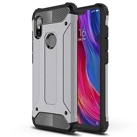 HUUH Funda Xiaomi Redmi Note 6/Xiaomi Redmi Note 6 Pro Carcasa Caja de teléfono móvil, combinación TPU + PC, Hermosa Mano de Obra(Gris)
