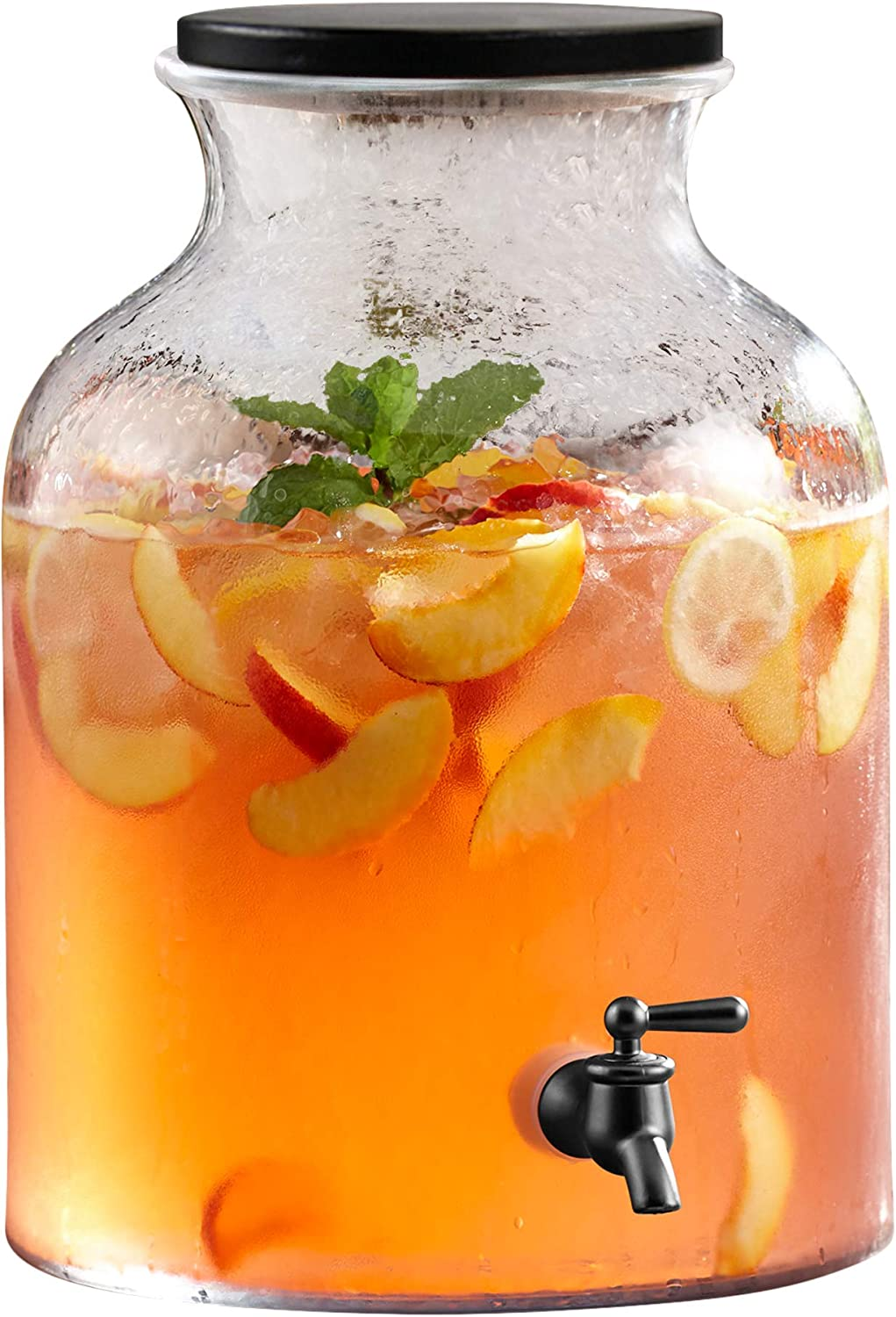 Elle Decor Beverage Dispenser Cold Drink Dispenser w/ 2.7 Gallon Capacity Glass Jug, Wood Lid & Leak-Proof Acrylic Spigot, Great for Parties, Weddings & More
